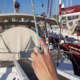 Δαχτυλίδι ασήμι 925° με Aqua marine σε σχήμα πολύγωνο