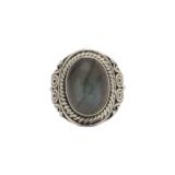 Δαχτυλίδι ασήμι 925° με Λαμπραδορίτη και περίτεχνο σκάλισμα