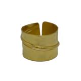 Δαχτυλίδι σφυρήλατο με διακοσμητική γραμμή από Επιχρυσωμένο & Επιροδιωμένο Μπρούντζο