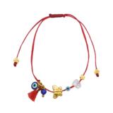 Βραχιόλι Μαρτάκι με διάφορα ματάκια και στοιχείο πεταλούδα επίχρυσο και κόκκινη φούντα