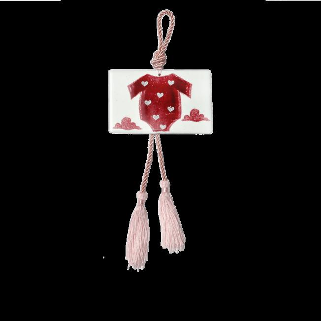 Γούρι γυάλινο ''Βρεφικό φορμάκι'' ροζ 9χ13,5