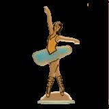 Μπαλαρίνα γυάλινη ζωγραφιστή 28,5 εκ. σιέλ
