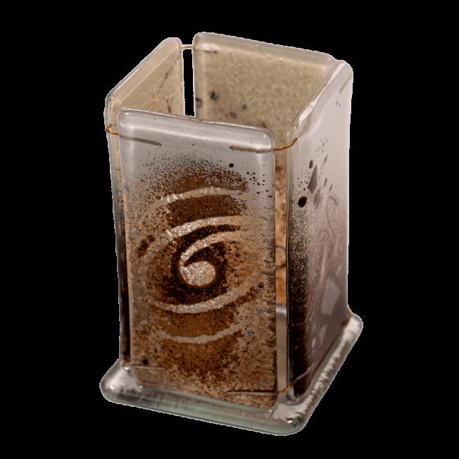 Μολυβοθήκη γυάλινη 10χ6 χρυσή σπείρα καφέ-λευκό