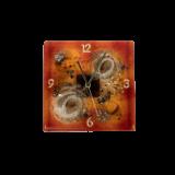 Ρολόϊ γυάλινο 21,5χ21,5 χρυσή σπείρα κόκκινο επιτοίχιο
