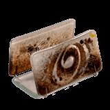 Χαρτοθήκη γυάλινη 4χ7,5 χρυσή σπείρα καφέ-λευκό