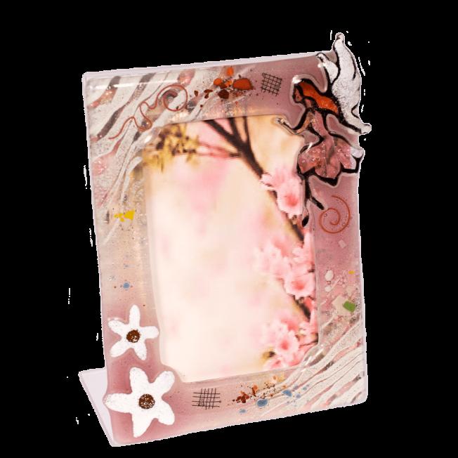 Κορνίζα γυάλινη 18χ13 νερά'ι'δα ροζ