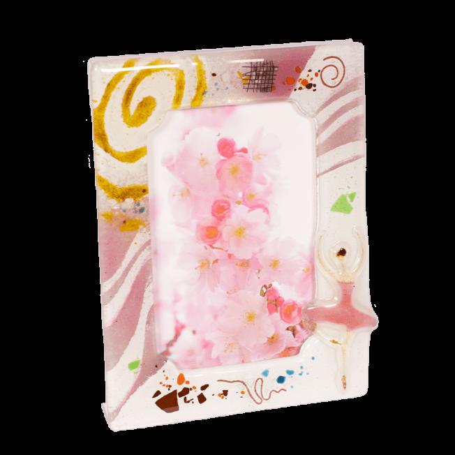 Κορνίζα γυάλινη 18χ13 ''Μπαλαρίνα'' ροζ