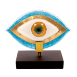 Μάτι γυάλινο 12χ14 MSMG13 γαλαζιο-λευκό σε ξύλινη βάση