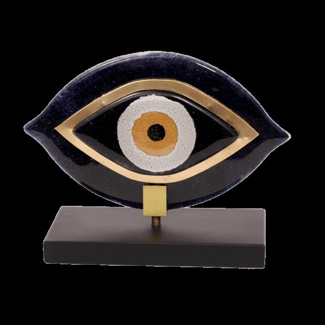Μάτι γυάλινο 15χ17 MSMG17 μαύρο ξύλινη βάση