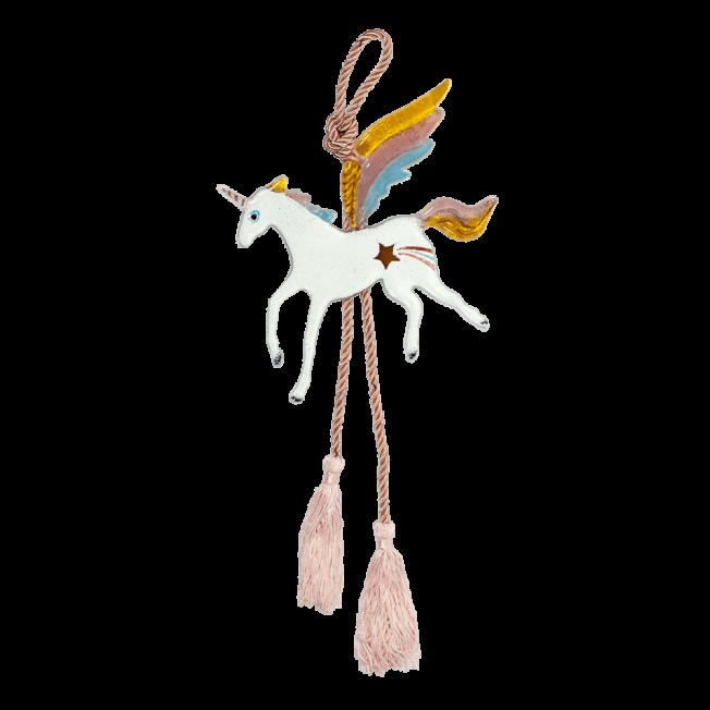 Μονόκερος κρεμαστό γυάλινο 15χ6,5 κίτρινο-ροζ-γαλάζιο