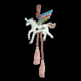 Μονόκερος κρεμαστό γυάλινο 15χ6,5 γαλάζιο-ροζ -λαχανί