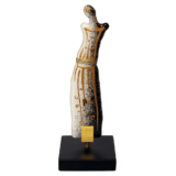 Άγαλμα γυάλινο 17εκ.Ίριδα λευκό-ξύλινη βάση