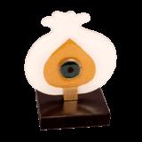 Ρόδι με μάτι λευκό-μεταλλικό κλαδί 10,5χ8 σε ξύλινη βάση