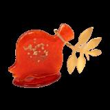 Ρόδι γυάλινο κόκκινο μπρούτζινο κλαδί 9χ16 γυάλινη βάση