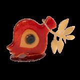 Ρόδι γυάλινο με μάτι κόκκινο-μπρούτζινο κλαδί 9χ16 γυάλινη βάση