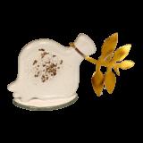 Ρόδι γυάλινο λευκό-μπρούτζινο κλαδί σε γυάλινη βάση