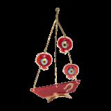Καράβι γυάλινο 26χ16 με σύρμα & ρόδια κόκκινο σε μεταλλική βάση