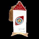 Σπίτι γυάλινο 16χ7,5 ''Good luck''κόκκινο με μάτι μεταλλική βάση