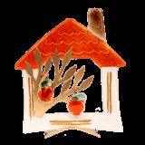 Σπίτι γυάλινο μεγάλο με κενό και ροδιά σε μεταλλική βάση 23χ20