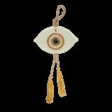 Γούρι μάτι γυάλινο 10,5χ17 λευκό-χρυσό
