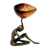 Κηροπήγιο μπρούτζινο μορφή 17χ12  Ίριδα κόκκινο