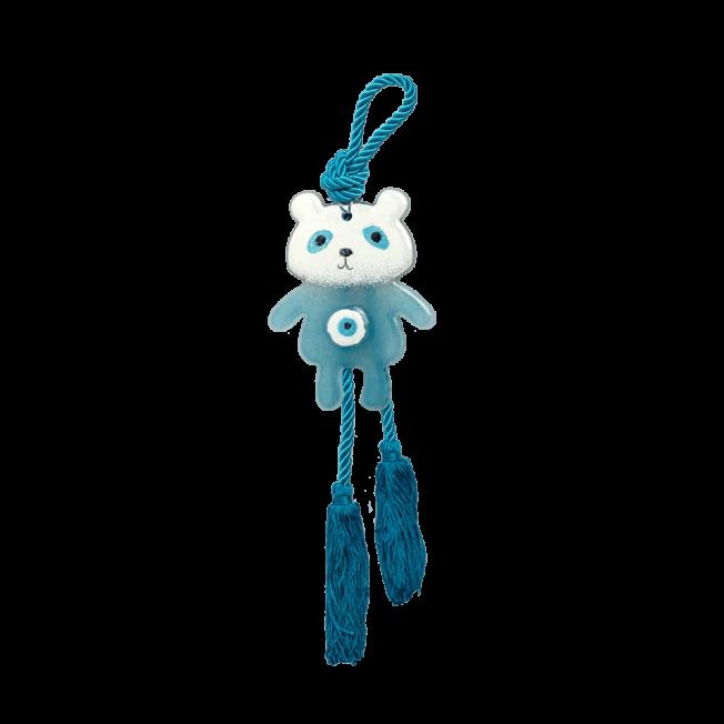 Αρκουδάκι κρεμαστό γυάλινο 13χ10 γαλάζιο