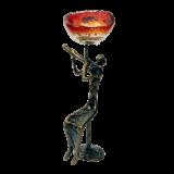 Κηροπήγιο μπρούτζινο 26χ10 μορφή μουσικός χρυσή σπείρα κόκκινο