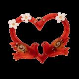 Καρδια γυάλινη κόκκινη με περιστέρια επιτοίχια 23χ26