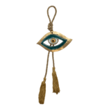 Γούρι γυάλινο μάτι γαλάζιο 8χ13 SFEYEZ14 σε σφυρήλατη μεταλλική βάση
