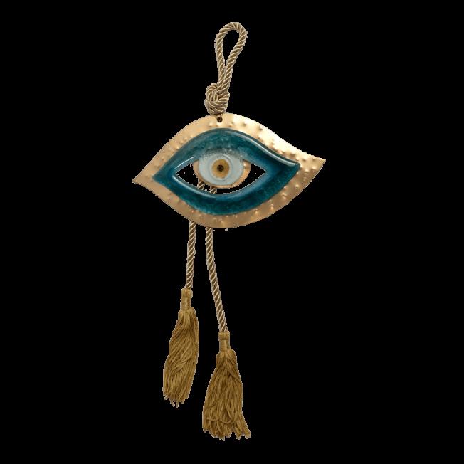 Γούρι γυάλινο μάτι γαλάζιο 10,5χ17 SFEYEZ17 σε σφυρήλατη μεταλλική βάση