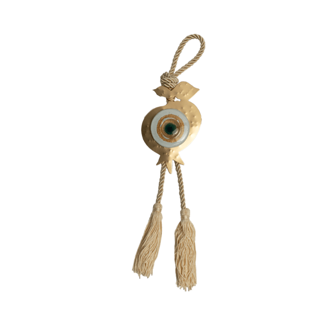 Γούρι ρόδι-μάτι γυάλινο SFMK5 λευκό 12,5χ8 σε σφυρήλατη μεταλλική βάση