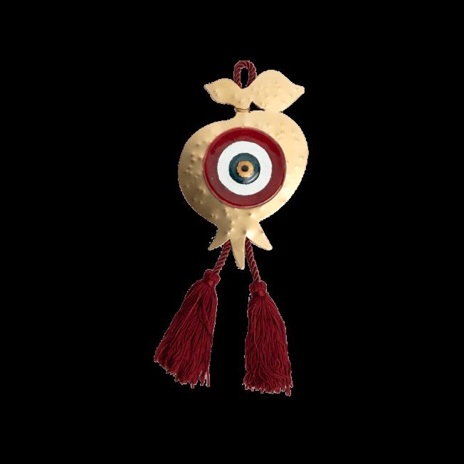 Γούρι ρόδι-μάτι γυάλινο SFMG7 κόκκινο 19χ12,5 σε σφυρήλατη μεταλλική βάση