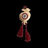 Γούρι ρόδι-μάτι γυάλινο SFMS6 κόκκινο 15χ10 σε σφυρήλατη μεταλλική βάση