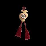Γούρι ρόδι-μάτι γυάλινο SFMK5 κόκκινο 12,5χ8 σε σφυρήλατη μεταλλική βάση