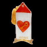 Σπίτι γυάλινο 16χ7,5 καρδιά-κλειδί κόκκινο μεταλλική βάση