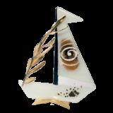 Καράβι γυάλινο με κλαδί ελιάς 25χ19 λευκό