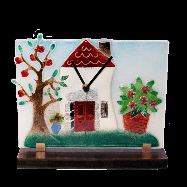 Ρολόϊ γυάλινο 21χ24 επιτραπέζιο σύνθεση σπίτι-γλάστρα-δέντρο