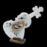 Βάζο γυάλινο βιολί 26χ28 χρυσή σπείρα λευκό σε μπρούτζινη βάση