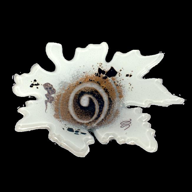 Κηροπήγιο γυάλινο 16Χ17 πλατανόφυλλο λευκό
