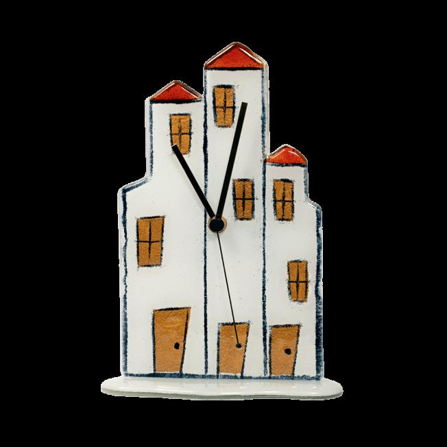 Ρολοϊ γυάλινη πολιτεία 23,5χ16 κόκκινο-λευκό-χρυσό  επιτραπέζιο