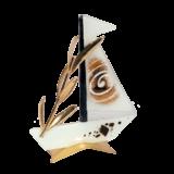 Καράβι γυάλινο με κλαδί ελιάς 15χ20 λευκό