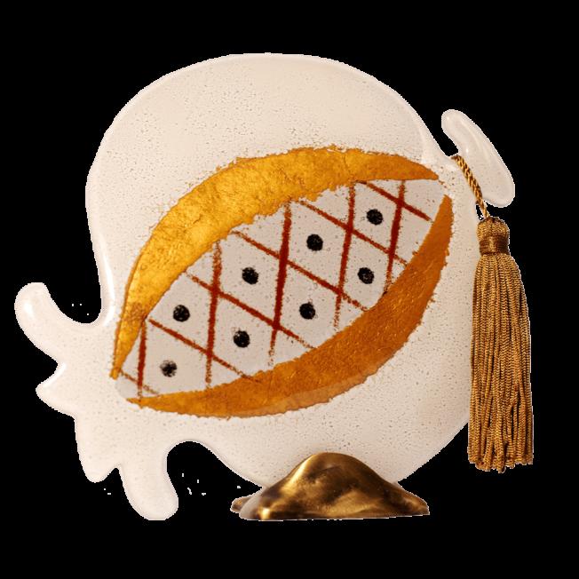 Ρόδι γυάλινο 20Φ λευκό ριγέ σε μπρούτζινη βάση