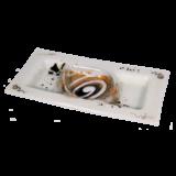 Ξηροκαρπιέρα γυάλινη 17χ35 χρυσή σπείρα λευκό