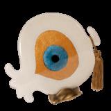 Ρόδι γυάλινο 20Φ λευκό με μάτι σε μπρούτζινη βάση