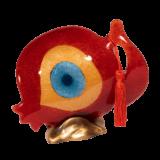 Ρόδι γυάλινο 16Φ κόκκινο με μάτι σε μπρούτζινη βάση