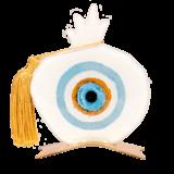Ρόδι γυάλινο καρπός-μάτι λευκό σε μεταλλική βάση