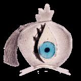 Ρόδι καρπός βλεφαρίδα γκρι γυάλινο σε μεταλλική βάση