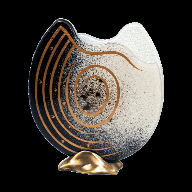 Βάζο γυάλινο Ίριδα μαύρο-λευκό 24Φ