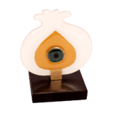 Ρόδι γυάλινο με μάτι λευκό-χρυσό σε ξύλινη βάση